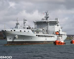 Pictured is RFA Tidesurge, the third of the Royal Fleet Auxiliary's mew Tide-class tankers to be made.  The ship photographed in Cornwall for customisation and trials before entering service with the Royal Fleet Auxiliary and being deployed on operations with the Royal Navy.  The arrival of RFA Tidesurge comes just weeks after her sister ship, RFA Tidespring, met up at sea with aircraft carrier HMS Queen Elizabeth for the first time.  The 39,000-tonne tankers with a range of 8,000+ nautical miles can carry up to 19,000 cubic metres of fuel and 1,400 cubic metres of fresh water in support of Royal Navy operations all over the world.  The detailed customisation work to prepare RFA Tidesurge and her sister ships for operations is being undertaken at the A&P shipyard in Falmouth, sustaining around 300 jobs.